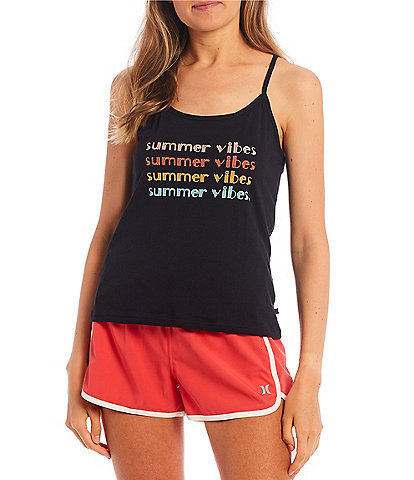 Hurley Spaghetti Strap Racer-Back Summer Vibes Knit Tank Top