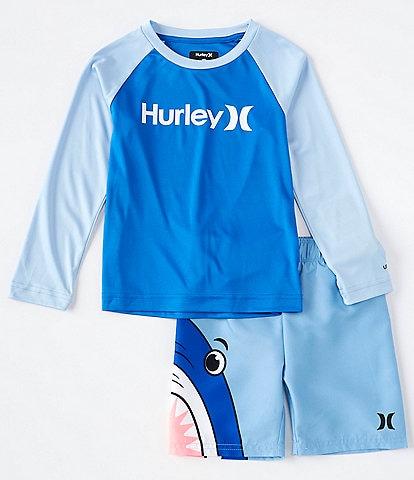 Hurley Toddler Boys 2T-4T Long-Sleeve UPF 50+ Swim Tee & Shark-Wraparound Swim Trunks Set