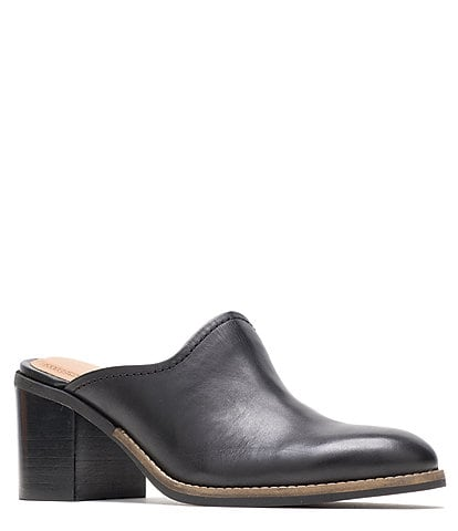 Hush Puppies Hannah Leather Block Heel Mules