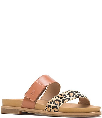 Hush Puppies Lilly 2 Band Slide Leopard Print Calf Hair Sandals