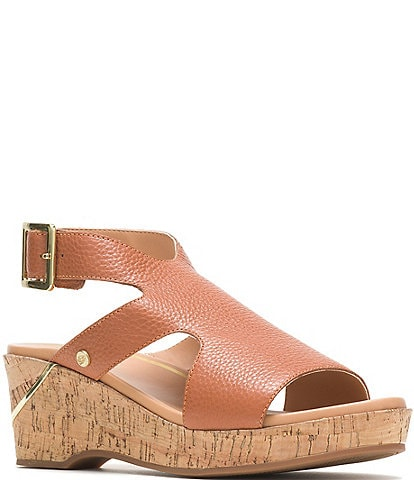 Hush Puppies Maya Ankle Strap Leather Cork Wedge Sandals
