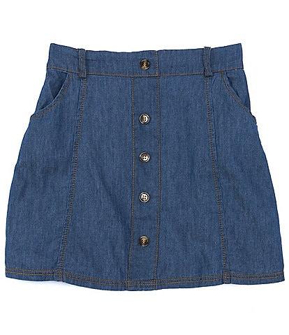I.N. Girl Big Girls 7-16 Button-Front Denim A-Line Skirt