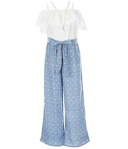 I.N. Girl Big Girls 7-16 Eyelet/Dotted Chambray Paperbag-Waist Jumpsuit