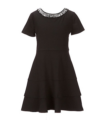 I.N. Girl Big Girls 7-16 Jeweled-Neck Fit-And-Flare Dress