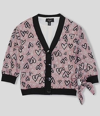 I.N. Girl Big Girls 7-16 Long-Sleeve Heart Cardigan & Coordinating Solid Tee 2-Piece Set