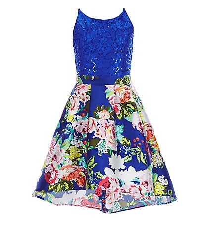 I.N. Girl Big Girls 7-16 Sequin-Embellished Lace Top & Floral-Printed A-Line Skirt Set