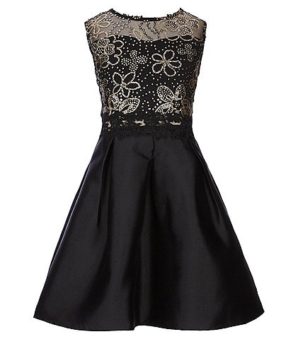 I.N. Girl Big Girls 7-16 Sequin-Embroidered-Lace/Solid Fit-And-Flare Dress