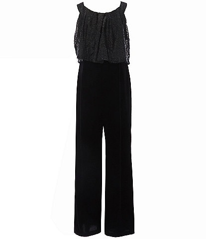 I.N. Girl Big Girls 7-16 Sequin/Velvet Popover Wide Leg Jumpsuit