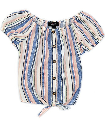 I.N. Girl Big Girls 7-16 Short-Sleeve Striped Button-Front Top