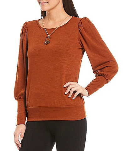 I.N. Petite Size Studio Hacci Knit Puff Sleeve Banded Hem Necklace Top