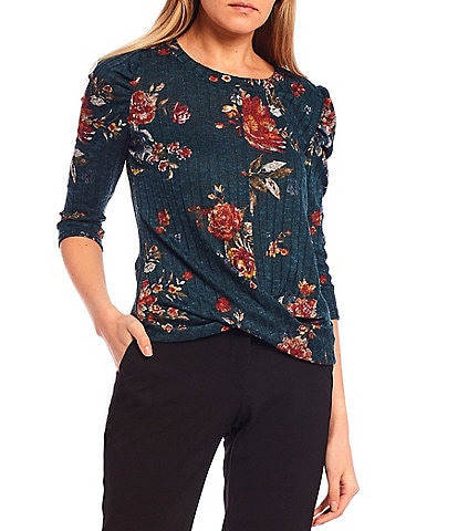 I.N. San Francisco 3/4 Puff Sleeve Floral Print Twisted Hem Top