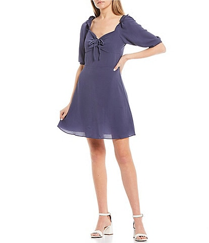 I.N. San Francisco 3/4 Sleeve Cinch Front Skater Dress