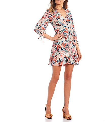 I.N. San Francisco 3/4 Sleeve Floral Print Ruffle Hem Dress