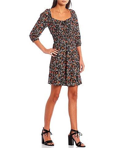 I.N. San Francisco 3/4-Sleeve Smocked-Waist Printed Fit And Flare Dress