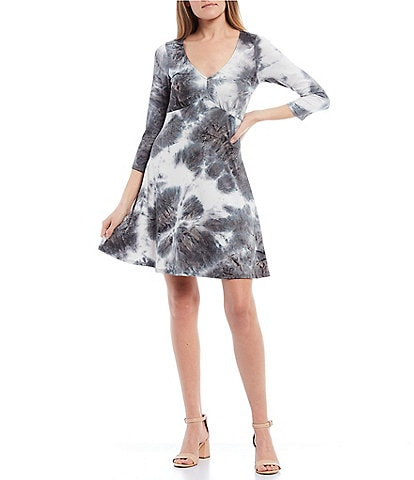I.N. San Francisco 3/4 Sleeve V-Neck Tie-Dye Knit A-Line Dress