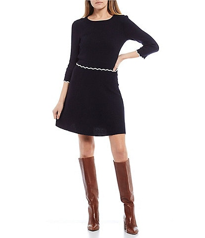 I.N. San Francisco 3/4 Sleeve Zig-Zag Trimmed Waist Skater Dress