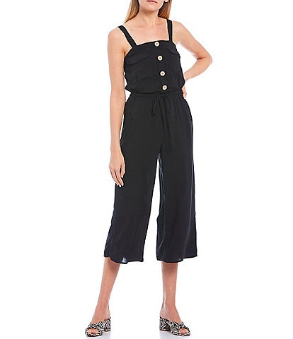 I.N. San Francisco Button Front Cropped Jumpsuit