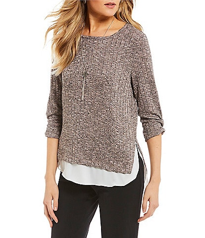 I.N. San Francisco Cinched-Sleeve Two-Fer Tunic