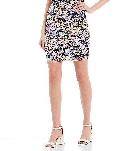 I.N. San Francisco Coordinating Floral Print Ruched Mini Skirt