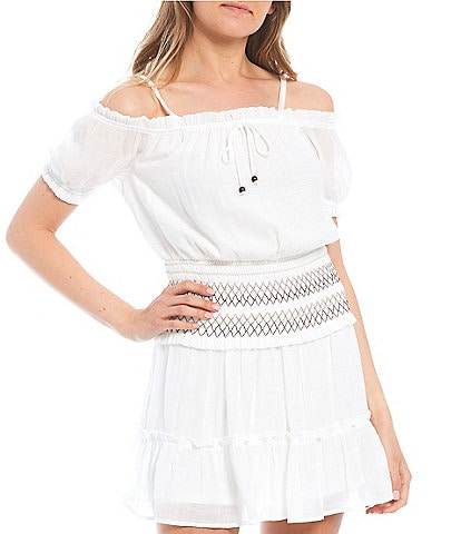 I.N. San Francisco Coordinating Spaghetti-Strap Stitched Smocked Hem Top