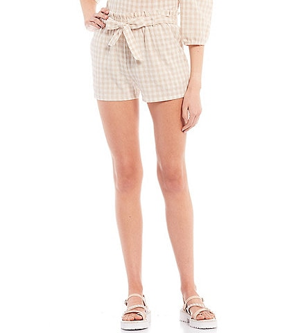 I.N. San Francisco Coordinating Tie-Front Gingham Shorts