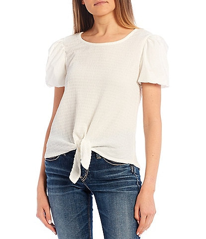 I.N. San Francisco Cotton Puff Sleeve Tie Front Top