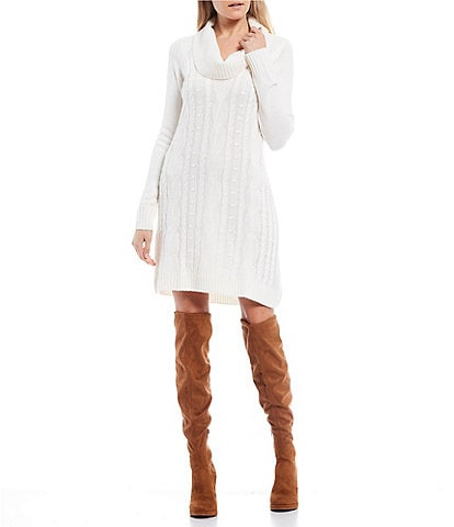 I.N. San Francisco Cowl Neck Cable-Knit Sweater Dress