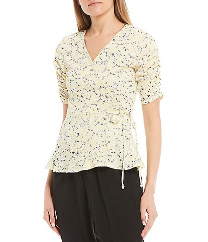 I.N. San Francisco Ditsy Floral Faux Wrap Top