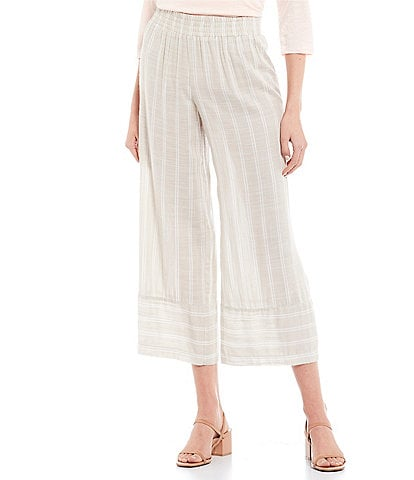 I.N. San Francisco Elastic-Waist Striped Panel Gaucho Pants