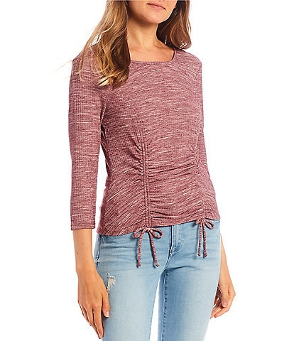 I.N. San Francisco Elbow-Sleeve Cinched Sides Knot Top