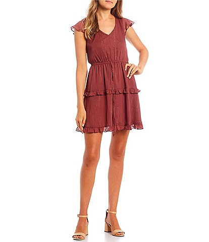 I.N. San Francisco Flutter Cap-Sleeve Lurex Tiered Skirt Fit-and-Flare Dress