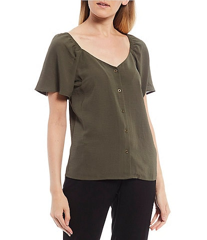 I.N. San Francisco Flutter Sleeve Button Front Top