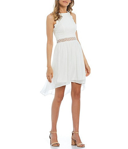 I.N. San Francisco High Neck Lace Bodice Scalloped High-Low Dress