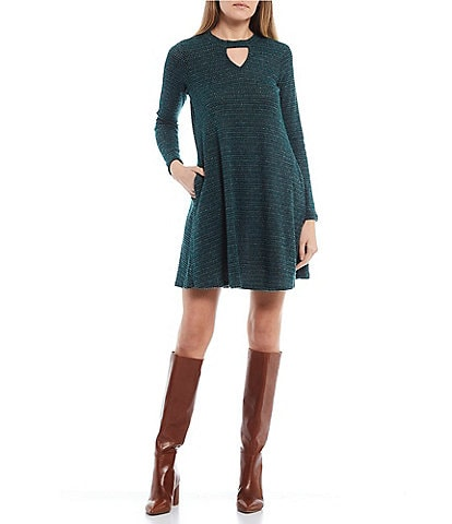 I.N. San Francisco Keyhole Neckline Fuzz Tweed Swing Dress