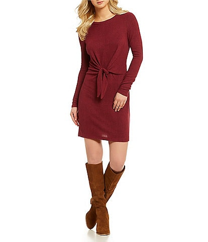 I.N. San Francisco Knot-Front Fuzzy Knit Dress