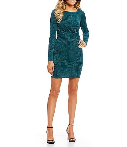 I.N. San Francisco Knot-Front Glitter-Knit Sheath Dress