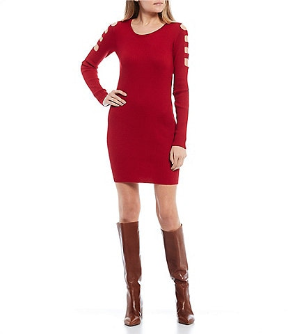 I.N. San Francisco Lattice Long-Sleeve Rib Knit Sheath Dress