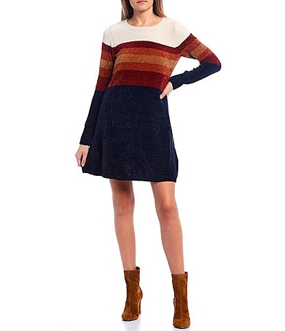 I.N. San Francisco Long-Sleeve Color-Block Chenille Sweater Dress