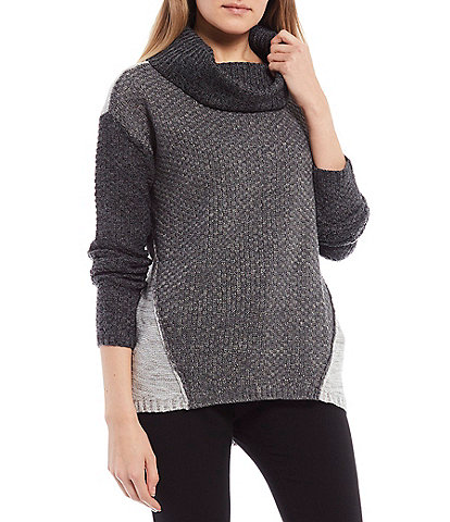 I.N. San Francisco Long-Sleeve Cowl-Neck Color-Block Sweater