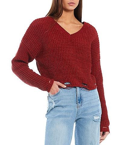 I.N. San Francisco Long-Sleeve Distressed Sweater