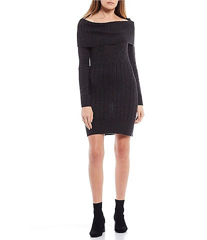 I.N. San Francisco Long-Sleeve Off-the-Shoulder Cable Knit Sweater Dress