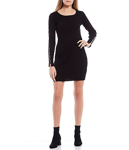I.N. San Francisco Long-Sleeve Pearl Detail Rib Knit Sweater Dress