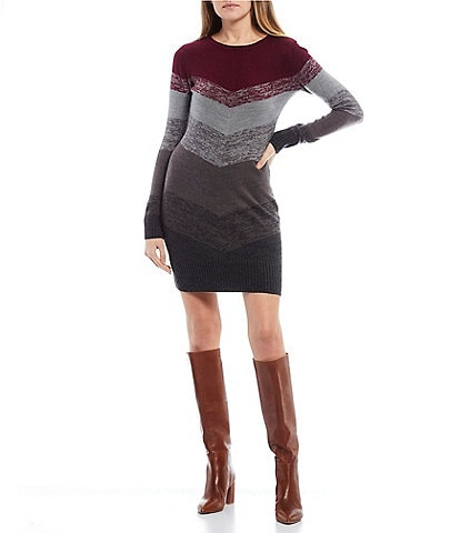 Long-Sleeve Scoop-Neck Chevron Sweater Dress