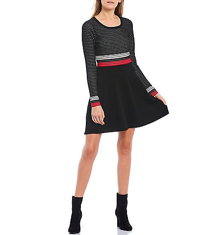 I.N. San Francisco Long-Sleeve Stripe Sweater Skater Dress