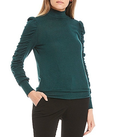 I.N. San Francisco Mock-Neck Ruched Long Sleeve Fuzzy Knit Top