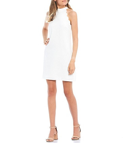 I.N. San Francisco Mock Neck Scalloped Shift Dress
