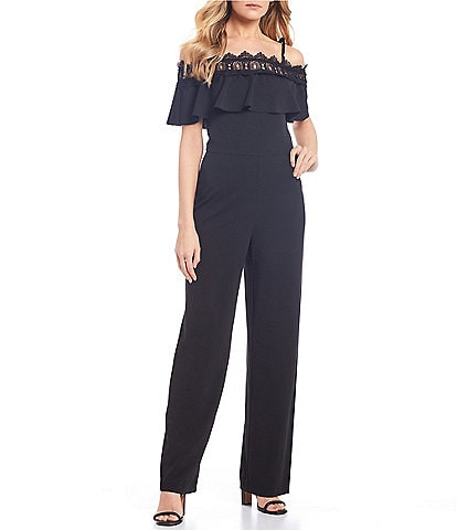 I.N. San Francisco Off-The-Shoulder Ruffle Trim Popover Jumpsuit