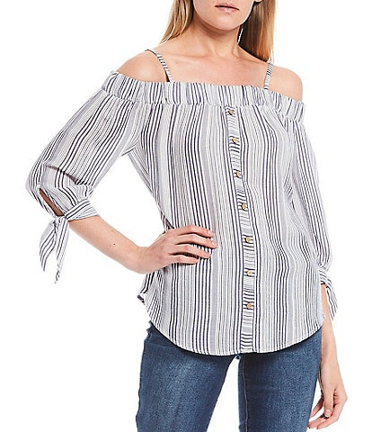 I.N. San Francisco Off-The-Shoulder Striped Button Front Top