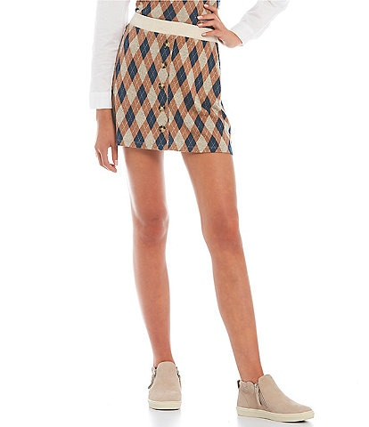 I.N. San Francisco Coordinating Printed Button-Front Skirt