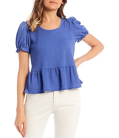 I.N. San Francisco Puff-Sleeve Tie-Neck Babydoll Top